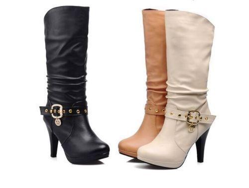 botas 11 invierno cómodo plataforma mujer talón perno 11 botas cm como piel 8964 5f10e2