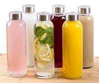 Glass Water Bottles Lid 16 Oz Set Of 6 Storage Drink Beverage Reusable Container