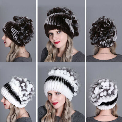 Women Winter Fur Hats Real Rex Rabbit Kniting Cap Princess Warm Snow Fluffy Soft
