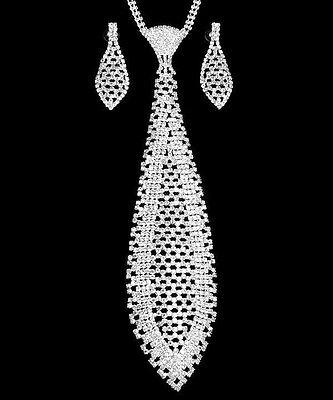 """Necktie AB Crystal Long Neck Tie  Women Necklace & Earrings 10"""" Tie"""