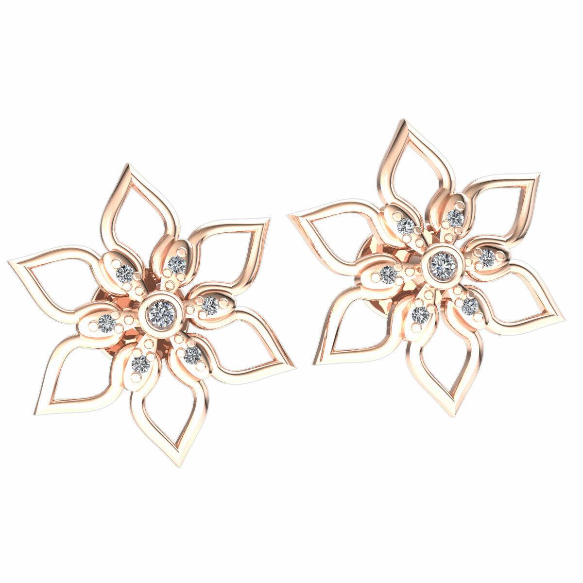 Genuine 0.05ct Round Cut Diamond Ladies 7-Stone Star Earrings Solid 18K gold