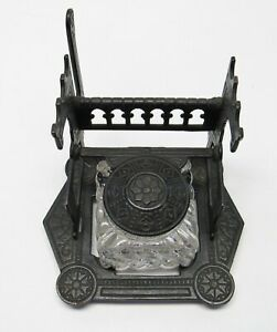 Antique-Art-Deco-Glass-Inkwell-Cast-Metal-Top-Stand-Quill-Fountain-Pen-Holder
