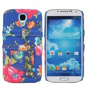 para-Samsung-Galaxy-S4-Funda-Estuche-Protectora-carcasa-JEANS-FLORES
