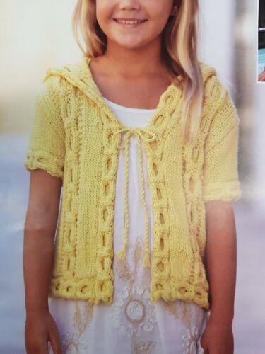 "Childrens Aran Knitting Pattern cardigan sizes 22-32/"" chest 001"