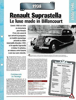 Abile Voiture Renault Suprastella Abm8 Fiche Technique Auto 1938 Collection Car Originale Al 100%