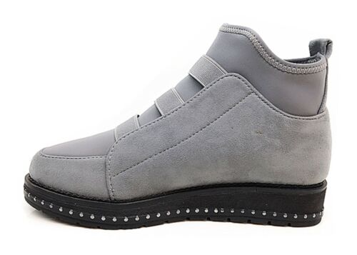 New Womens Ladies Suede Chelsea Ankle Boots Diamante Pull On Casual Flat Shoes