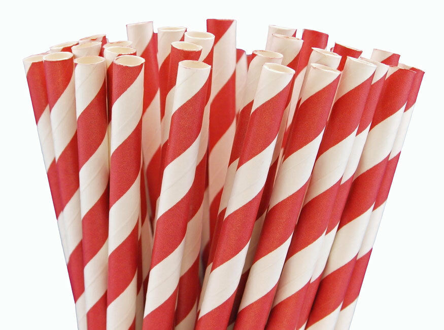 2000 x rot Weiß Striped Paper Drinking Straws Biodegradable Eco Recyclable