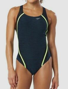 198-Speedo-Women-039-s-Blue-Quantum-Splice-Competition-One-Piece-Swimsuit-Size-4
