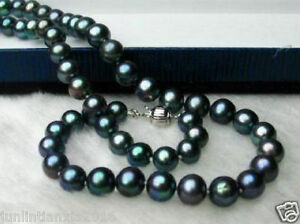 Genuine 8-9mm Black Natural Tahitian Pearl Necklace 18/'/'