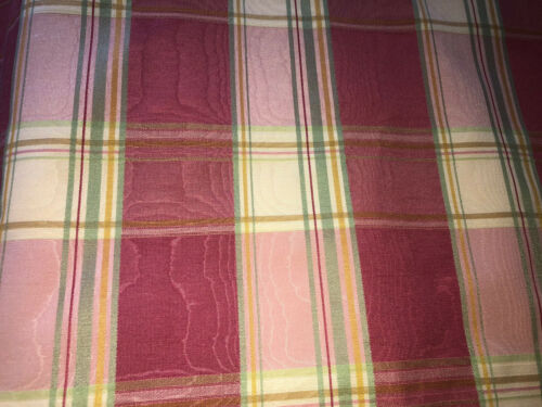 """2 AVAILABLE 87""""L SCHUMACHER CUSTOM MOIRE PLAID DRAPES~ROSE,GREEN,YELLOW"""