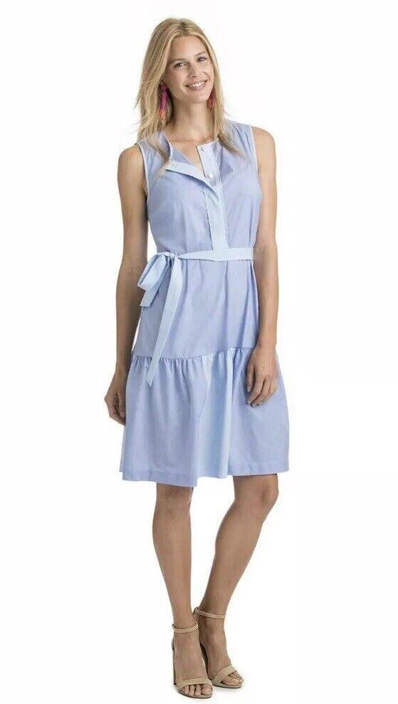 NWT damen Vineyard Vines Blau Weiß Mixed Stripe Tie Waist Shirt Dress Sz 14