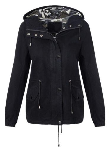 De las mujeres chaqueta las señoras Cazadora capucha parka negra de color caqui de transferencia S-XL D-278