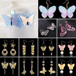 Charm Butterfly Resin Pearls Acrylic Ear Hook Earrings Dangle Women Jewelry Gift