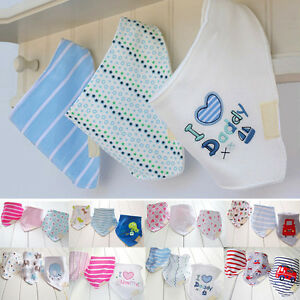 3Pcs Baby Girls Boys Kids Bibs Saliva Towel Triangle Dribble Head Scarf Bandana