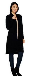 Isaac Mizrahi Live  2-Ply Cashmere Open Front Duster Cardigan, Size XXS,