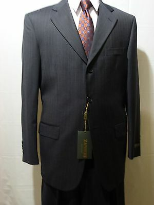 Black Tonal Striped Two Button Super 100s Wool Suit Made in Italy
