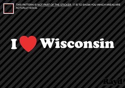 2 I Love Wisconsin Sticker Decal Die-Cut Vinyl
