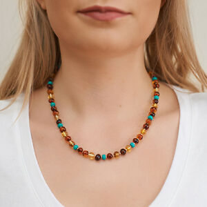 Natural-Baltic-Amber-Necklace-Choker-Turquoise-Genuine-Silver-Cognac-Brown
