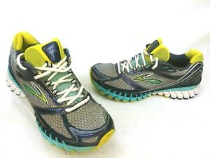 6c3b1ba24ed Brooks Womens Ghost 6 Running Shoe Gray Blue Yellow 1201381B620 Size ...