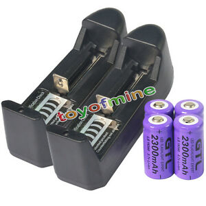 4x-16340-CR123A-123A-3-7V-2300mAh-Rechargeable-Battery-Purple-Cell-2x-Charger