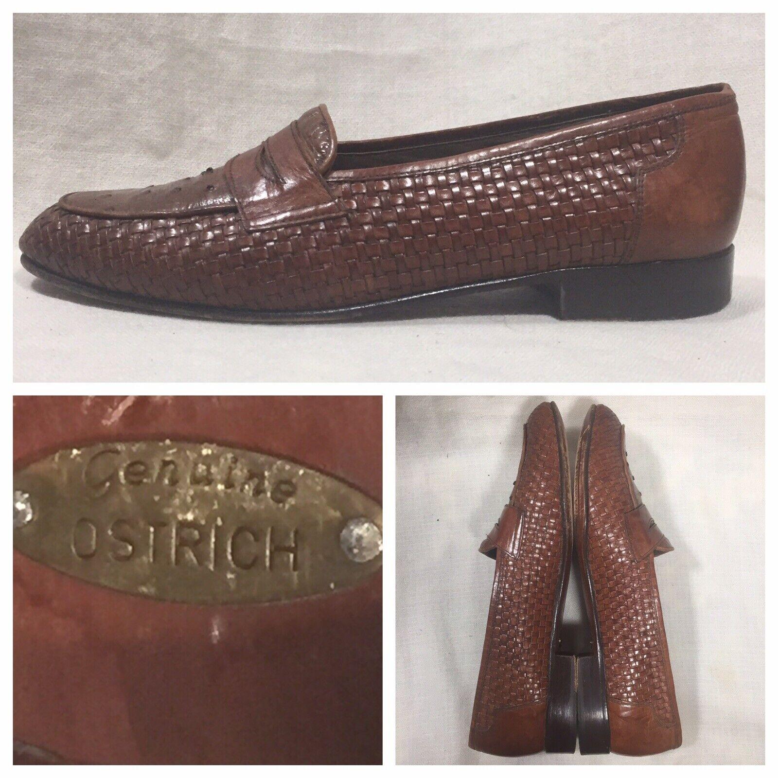 Mario Bcorrerei Penny Loafers Exotic Genuine Ostrich Dress sautope Dimensione W9 Marronee Sautope classeiche da uomo