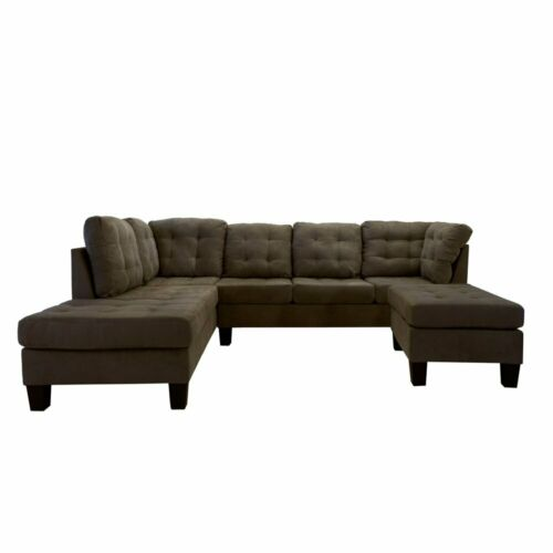 2 Piece Modern Soft Tufted Micro Suede Sectional Sofa Couch w// Reversible Chaise