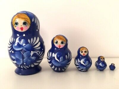 New Hand Painted Russian Nesting Doll Matryoshka 5 Piece Set Made In Russia