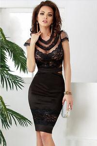 Caricamento dell immagine in corso Vestito-donna -pizzo-nero-aderente-sexy-trasparente-elegante- c2511e66302