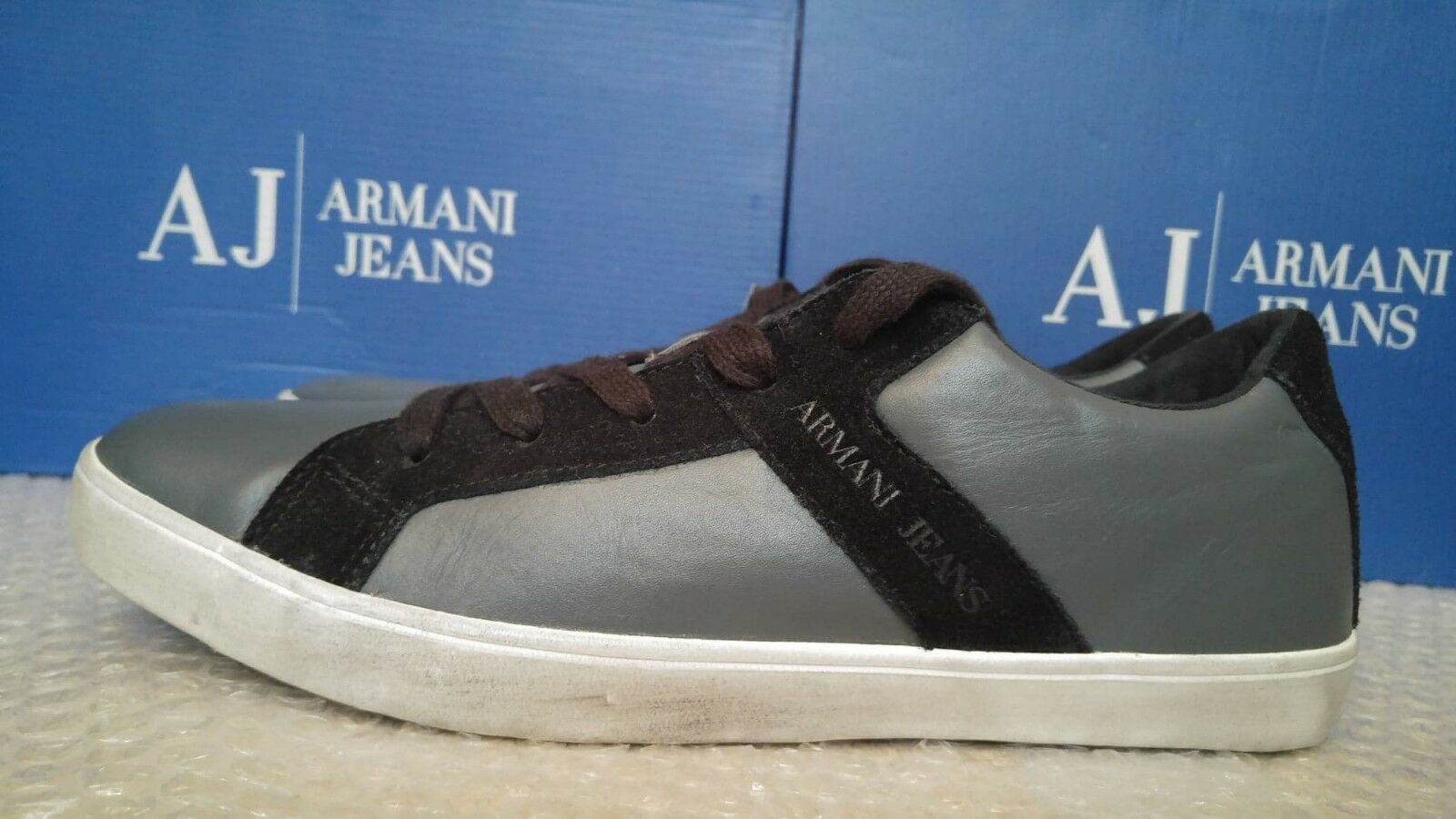 Armani Jeans entrenadores para Hombre Corte Bajo Talla 44 (9.5UK - Aspecto Vintage