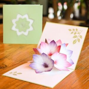 Flower greeting cards handmade birthday wedding invitation 3d pop up image is loading flower greeting cards handmade birthday wedding invitation 3d m4hsunfo