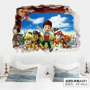 3d Paw Patrol Wall Stickers For Kids Room Home Decoration Accessories Creative Ebay