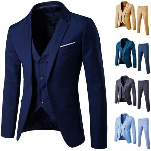 Men/'s Jacket Business Slim /& Pants Wedding  Suit Party Vest 2-Piece Blazer