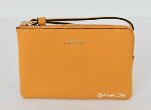 Coach-Corner-In-Crossgrain-F58032-Goldenrod-Leather-Wristlet-NWT