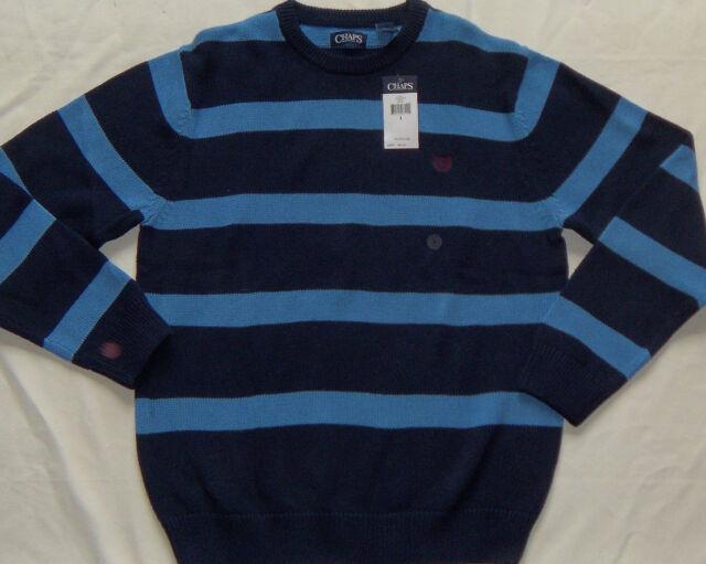 $60 L Large Chaps 100% Cotton Blue Denim Men Polo Sweater Sporting Goods Sandals