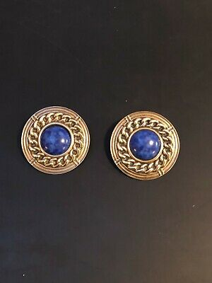 Brass unsigned Heart earrings with blue stones