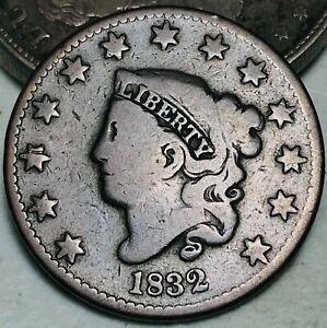 1832 Large Cent Coronet Head 1C Higher Grade Choice Good US Copper Coin CC6297