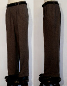 PANTALON-VINTAGE-LINDY-HOP-RETRO-MEN-trouser-ANNEES-40-lainage-choco-T50
