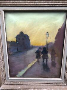 La-Sortie-School-School-French-Early-20th-Signed-Pastel-Antique