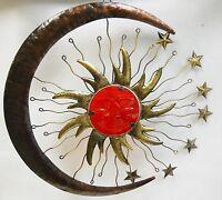 Celestial Sun Catcher - Wall Plaque, Red Glass Sun Face, Metal Moon, Stars 16