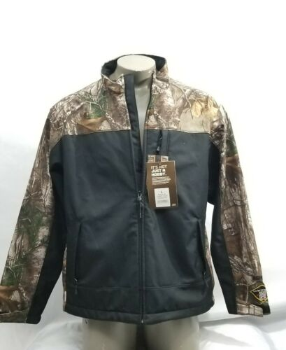 Berne Men's Realtree Black and Camo Hunting Zip Coat Size Large NWT