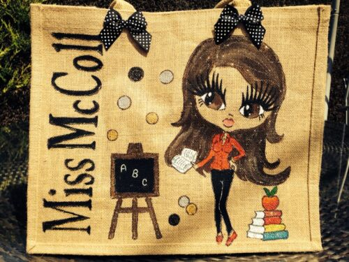 SCHOOL TEACHERS PERSONALISED GIFT ANY NAME OR THEME LARGE JUTE BAG ALL AGES