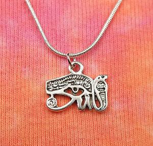 Mens necklace Eye Ra Sign Pendant Necklace Egyptian Sun God Symbol Handmade Vintage Silver Chain Necklace.
