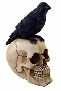 Grand-Noir-Crow-Crane-Figurine-Ornement-Squelette-Gothique-Art-21cmx16-5cm