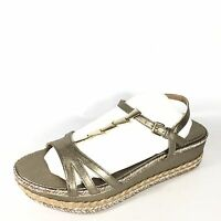 Stuart Weitzman Flècha Wedge Womens Size 8.5 Gold Leather Open Toe Sandals.