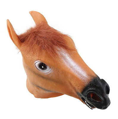 Horse Head Mask Creepy Halloween Costume Theater  Latex Rubber Novelty USA SHIP