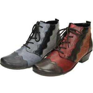 e0a81b6c2 Remonte Lace Up Heel Zip Cushioned Leather Multi Coloured Ankle ...