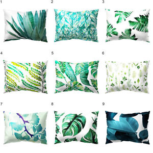 HN Tropical Green Leaves Rectangle Pillow Case Cushion Cover Sofa Home Decor De