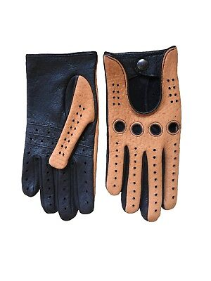 Men/'s Fingerless Driving Peccary Leather Gloves Black Cork Color By Hungant