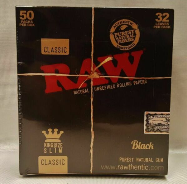 Rolling Papers Ultra Thin Box 5 PACKS RAW Black Classic King Size Slim