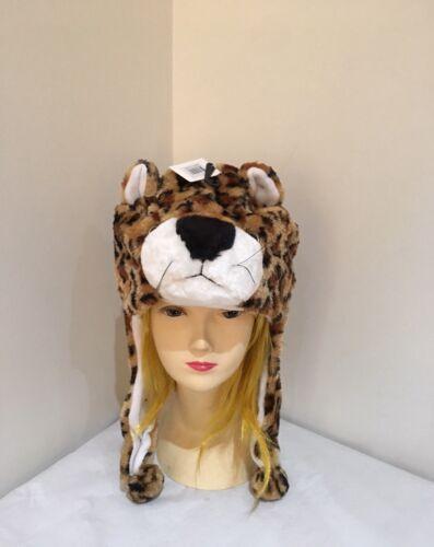 LEOPARD PANTHER JAGUAR ANIMAL CARTOON PLUSH FLUFFY HOODED HAT CAP BEANIE
